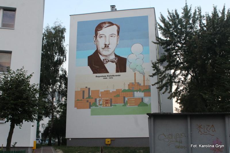 Eugeniusz Kwiatkowski na muralu w Stalowej Woli