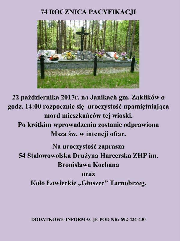 74. rocznica pacyfikacji wsi Janiki