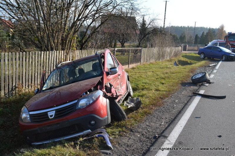 W niedzielę na krajówce w Kopkach doszło do wypadku